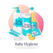 Vector baby hygiene illustration. Newborn accessories in cartoon style Stock Illustration