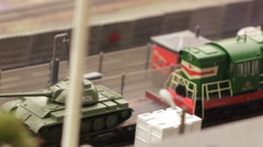 Transporting tanks on military base Stock Footage