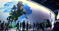 Nintendo The Legend of Zelda themed booth at E3 2016 gaming conference Stock Footage