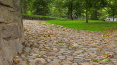 Cobbled streets, cyclist driving 4K Stock Footage