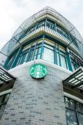 Starbucks logo sign on shop outdoor Kuvituskuvat