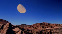 Mojave Desert Red Rocks moon rise time lapse 4k Stock Footage