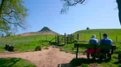 VIEW OF ROSEBERRY TOPPING FROM NEWTON WOOD GREAT Stock Footage
