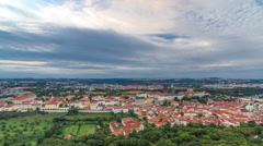 Wonderful timelapse View To The City Of Prague From Petrin Observation Tower In Stock Footage