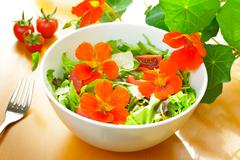 Salad bowl nasturtium flowers fork Stock Photos