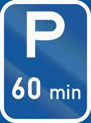 Road sign used in the African country of Botswana - Parking with a 60 minute  Stock Illustration