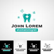 Dental logo template. Teeth icon set. dentist insignia, orthodontist Stock Illustration