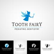Tooth fairy dental logo template. Teethcare icon set. dentist clinic insignia Stock Illustration