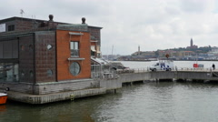 On board a ferry in Gothenburg. Arriving at Eriksberg Stock Footage