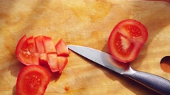 Cook Cuts Tomato on the Board. Top View. 3840x2160 Stock Footage