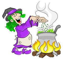Witch cooking a magic potion in the cauldron Stock Illustration