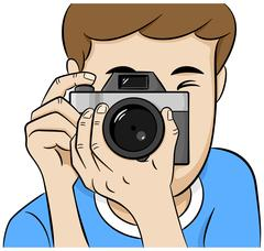Look directly into the camera of a photographer Stock Illustration