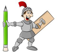 Small knight armed with pencil and ruler Stock Illustration