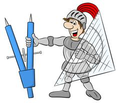 Small knight armed with dividers and triangle ruler Stock Illustration