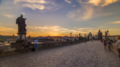 Charles Bridge in Prague during the sunrise timelapse, Bohemia, Czech Republic Stock Footage
