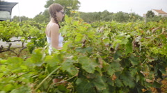 Woman walk through vineyard and checking wines steady shot 4K Stock Footage