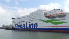 Cruising past a Stena line Ferry Stock Footage