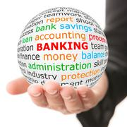 Hand take white ball with red inscription banking Stock Photos