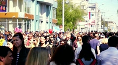 Russia, Novosibirsk, 9 may 2015. Street filled with a very busy anonymous crowd Stock Footage