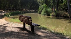 The banch on the Yarkon river Stock Footage
