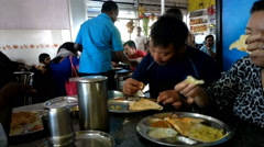Usual exotic Indian street cafe for Hindus Stock Footage
