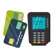 POS terminal with inserted credit card and print receipt vector Stock Illustration
