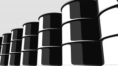 Row of black oil barrels. Cartoon version for presentations and reports. 4K Stock Footage