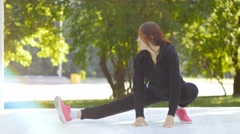 Exercise woman doing situps in outdoor workout training Stock Footage