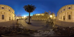 360 view from the Cathedral of Saint Mary of the See at night Stock Footage