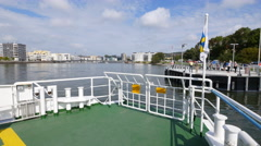 On board a ferry in Gothenburg. Arrival Stock Footage