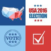 Usa 2016 election card with country map, vote stamp, and checkbox. Digital ve Stock Illustration