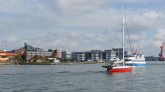 Ships on the river in Gothenburg Stock Footage