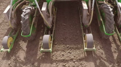 Machine sowing peppers in the spring. Stock Footage