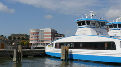 Moored ferries, Lindholm, from the water Stock Footage