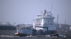 Port of Amsterdam Holland busy ship traffic sunny day Stock Footage