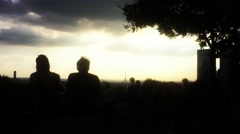 Paris Top View In Sunset, Romantic Couple Zoom Out Stock Footage