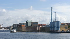 On board a ferry in Gothenburg. Cruising past the city Stock Footage