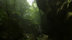 Dynamic tear with mist in forest different angle, Rock garden Ootsuki in Japan Stock Footage