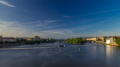 Vltava river timelapse hyperlapse in district Strelecky ostrov with the bridge Stock Footage