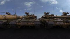 Row of modern main battle tanks. Seamless loop, 4K photorealistic animation Stock Footage
