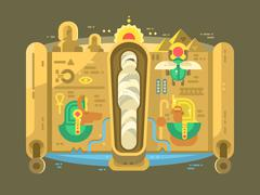 Mummy in a sarcophagus flat design Stock Illustration