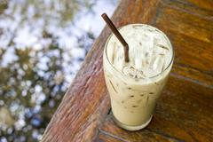 Iced Latte coffee on table close up Stock Photos