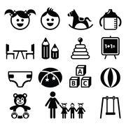 Kindergarten, nursery, preschool icons set Stock Illustration