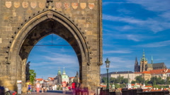 Old Town Bridge Tower of the Charles Bridge timelapse - one of the most Stock Footage
