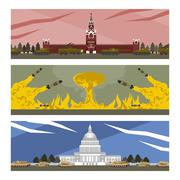 Flat banners cold war Stock Illustration