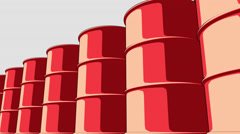 Line of glossy red metal barrels. Cartoon version for presentations and reports Stock Footage
