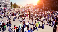 Russia, Novosibirsk, 9 may 2015. Crowd of people walking on the street on Stock Footage