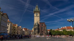 Old Town City Hall in Prague timelapse hyperlapse, view from Old Town Square Stock Footage