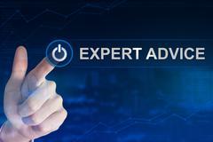 Business hand clicking expert advice button Stock Photos