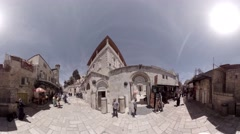 3rd and 4th Stations of the Cross in Via Dolorosa Jerusalem, Israel 360 video VR Stock Footage